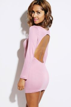#1015store.com #fashion #style dusty pink backless fitted long sleeve clubbing mini dress-$15.00