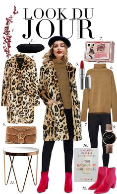 Camel knit sweater+black skinny pants+pink ankle boots+leopard print fur coat+black beret+camel chain shoulder bag+gold and black watch. Boots Leopard, Pink Ankle Boots, Jeans Rosa, Leopard Print Outfits, Mode Glamour, Fashion Corner, Fall Winter Outfits, Black Skinnies, Chic Outfits