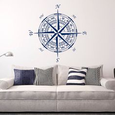 Compass Wall Decal Vinyl Stickers Nautical Decor- Nautical Compass Rose Wall Decals For Living Room Bedroom Nursery Wall Art Home Decor Approximate