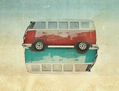 VW Kombi Ying and Yang Art Print