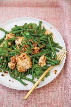 Crisp-tender Chinese long beans pair with silky tofu and an umami-rich dressing for this simple chilled salad from chef Matt Wilkinson.
