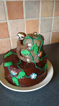 I asked my daughter what type of cake she wanted for her birthday, expecting her to choose a flavour, her response was I would like a 'sloth' cake. With only four hours notice and CA quick trip to the shop for the icing shapes, this is what we came up with. She absolutely loved the cake! Sloth Cakes, Baby Sloth, Homemade Cake Recipes, Types Of Cakes, Love Food, Cake Toppers, Icing, Cake Decorating, Birthday Cake