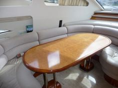 The yacht's spacious dinette, where Fiona serves lunch.