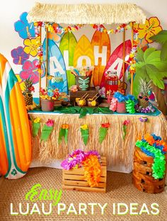 Use store bought and 5 minute DIY projects to make the luau party of your dreams with this post full of easy luau party ideas! Use store bought and 5 minute DIY projects to make the luau party of your dreams with this post full of easy luau party ideas! Aloha Party, Hawaii Birthday Party, Luau Theme Party, Hawaiian Luau Party, Hawaiian Birthday, Tiki Party, Hawaiin Party Ideas, Luau Party Ideas For Kids, Luau Party Outfits