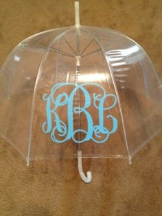 Monogrammed Umbrella- bridesmaid gift idea.. haha could actually come in handy with ireland's unpredictable rain showers