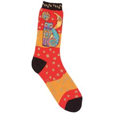 These socks from Laurel Burch offer comfort and fashion. With a light stretch, these socks are finished with a lovely celestial cat pattern.