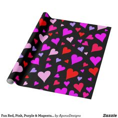 Shop Fun, Loving, Colorful Hearts Pattern Wrapping Paper created by AponxDesignsAnnex. Gift Wrapping Paper, Custom Wrapping Paper, Red And Pink, Pink Purple, Magenta, Present Gift, Heart Patterns, Heart Shapes, Wraps