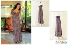 This strapless empire maxi dress is designed by Galuh Kenanga. The dress is rich in traditional Balinese floral batik patterns in shades of purple and brown, has a wide elasticated back for an elegant fit and slips on.