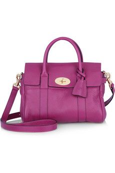 Mulberry.  Small Bayswater textured-leather shoulder bag.