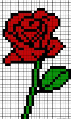 Rose perler bead pattern by Madigra