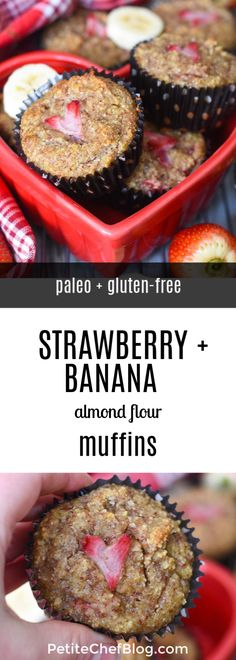 Healthy Strawberry Banana Muffins - Paleo And Gluten-Free - Delicious And Easy R. Healthy Strawberry Banana Muffins – Paleo And Gluten-Free – Delicious And Easy Recipe For Paleo Strawberry Banana Muffins, Healthy Banana Muffins, Strawberry Muffins, Strawberry Recipes, Banana Almond Flour Muffins, Banana Flour, Almond Flour Recipes, Honey Recipes, Banana Recipes