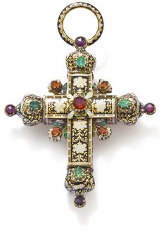 A gemset and enamel cross pendant  Set to one side throughout with oval mixed- and circular-cut emeralds and variously coloured garnets applied to an elaborate foliate ground of black and white champlevé enamel, the reverse similarly enamelled, length 9.8 cm, maker's mark GL.