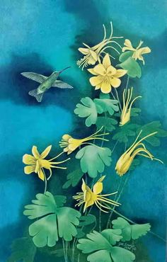 Hummingbird and Columbine Flowers  limited edition by jilldredge, $30.00