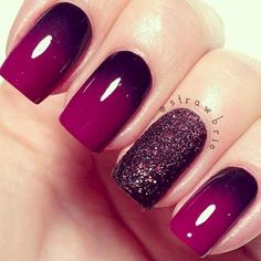 Maroon ombre nails with glitter feature nail.