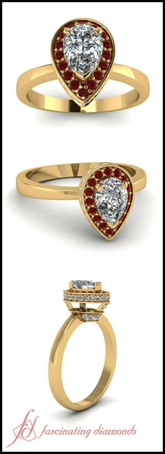 Pear Shaped and Round Diamond & Red Ruby 14K Yellow Gold Halo Engagement Ring In Pave Setting || Pear Coronet Ring