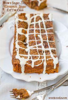 Cinnamon Sugar Coffee Cake with Vanilla Cream Cheese Glaze