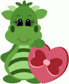 Silhouette Design Store - View Design #53772: valentine dragon w box of chocolates