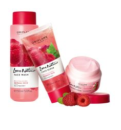 Love Nature Raspberry #Oriflame #Raspberry #LoveNature Limpiadora, crema hidratante y gel exfoliante por solo $119.9