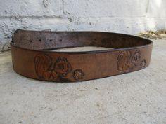 Vintage Embossed Brown Leather Squirrel Belt by retrosideshow