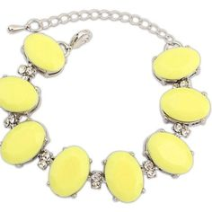 Ruby Rocks Accessories Lemon Yellow & Crystal Bracelet ($14) ❤ liked on Polyvore featuring jewelry, bracelets, yellow, yellow crystal jewelry, crystal jewelry, crystal jewellery, yellow bangles and lemon jewelry