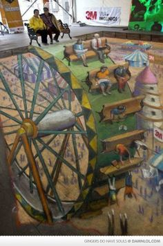 """Wheel of Fortune. This was done in Santiago, Chile for the Telecommunications company 3M as part of their """"Ingenuity"""" campaign. It was the most difficult drawing I have ever attempted. Julian Beever"""
