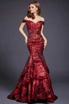 Print Off the Shoulder Mermaid Dress 37927