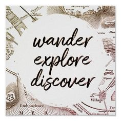 Wander Explore Discover Vintage Map Travel Poster Travel Wall Decor, Vintage Maps, Christmas Card Holders, Custom Posters, Travel Posters, Custom Framing, Wander, Keep It Cleaner, Holiday Cards