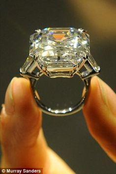 The Elizabeth Taylor 33.19-carat white diamond ring..wow!  Can you just imagine her collection??? WOW