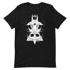 Goat & Skull, Unisex T-Shirt, Black #shirt #shirts #skull #arttee #artwork #TShirt #goat