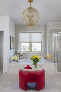 This whole white bathroom design has very glamorous details to it. SWIPE TO GET THE LOOK
