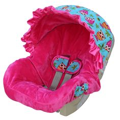 Carseat covers, a huge no no! Only use what came in the box with the seat. Aside from being flammable, a DIY cover introduces slack into the harness and can mess with harness placement where the slits are cut.
