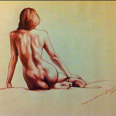Desnudo de mujer de espaldas - Pintura, 55x60 cm ©2012 por Eduardo Urbano…