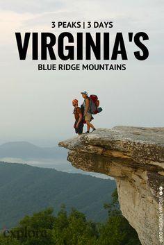 Go Here: Hiking the Triple Crown of the Blue Ridge Mountains in Virginia via Explore Magazine by Doug O'Neill Blue Ridge Mountains, Blue Ridge Parkway, Virginia Mountains, Weekend Hiking, Hiking Trips, Backpacking Trails, Weekend Trips, Hiking In Virginia, Virginia Tech