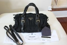 74f0662f2295 ... new zealand prada gaufre tessuto ruched nylon bn1407 black crossbody  satchel purse 589.0 6fbb4 d31ae