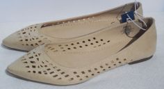 New Old Navy Womens Nude Sand Pointed Toe Flats Size 9 Cut Out Perfect Pointy #OldNavy #BalletFlats