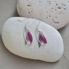 Boucles d'oreilles argent avec sequin rose et anneau