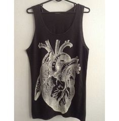 Heart Drawing Diagram Punk Pop Art Rock Tank Top M