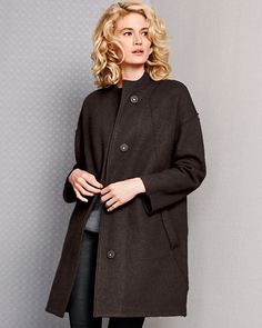 """Eileen Fisher Boiled Wool Stand-Collar Coat at Garnet Hill 35"""" long"""