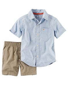 Baby Boy 2-Piece Striped Button-Front & Canvas Short Set  Complete with canvas shorts and a poplin button-front, he's gearing up for spring in this easy outfit set.