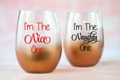 I'm The Nice One/Naught One - 2 Decal Set for DIY Drinkware - Vinyl Decals Wine Glass, Mugs ... Glass NOT Included Drinkware, Vinyl Decals, Wine Glass, Mugs, Nice, Tableware, Shop, Etsy, Tumbler