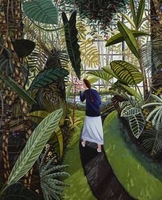 'The Conservatory',1985. Oil on canvas by David Bates.