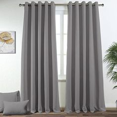 Ponydance Thermal Insulated Eyelet Blackout Curtains 66 x 90 (2 panelsGrey)