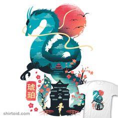 Haku Ukiyoe poster by from collection. Studio Ghibli Poster, Studio Ghibli Art, Studio Ghibli Movies, Anime Kunst, Anime Art, Spirited Away Wallpaper, Dragon Oriental, Chihiro Y Haku, Wallpaper Fofos