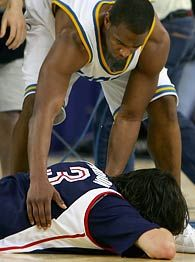 Aaron Afflalo (UCLA) so respected his opponent he chose to console a heartbroken Adam Morrison after Gonzaga's season ending loss - while his teammates were celebrating a trip to the Final Four