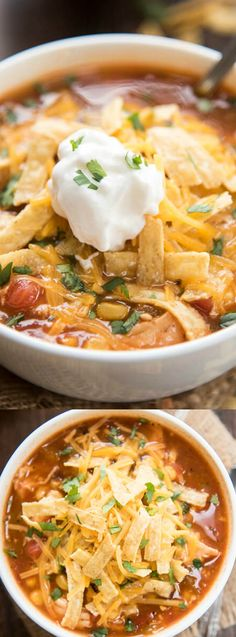 This Slow Cooker Chicken Enchilada Soup from Like Mother Like Daughter is PACKED full of flavor and makes the perfect weeknight meal for your family! The slow cooker does all of the hard work for you — and you end up with an amazing soup that your family will love.