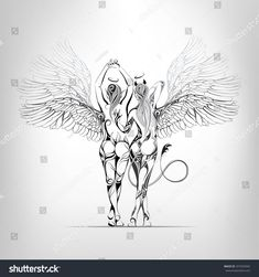 Angel and the demon in an ornament. Vector illustration