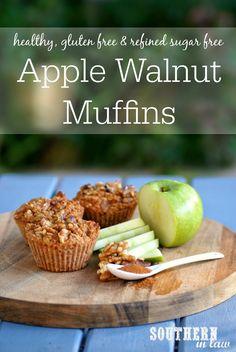 Sugar Free Apple Walnut Muffins Recipe - healthy, gluten free, low fat, refined sugar free and freezer friendly muffins recipe