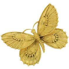 VAN CLEEF ARPELS Yellow Gold Butterfly Pin ❤ liked on Polyvore featuring jewelry, brooches, butterfly jewelry, yellow gold jewelry, gold butterfly brooch, gold brooch and butterfly brooch