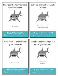 Valentine Jokes, Valentines For Boys, Valentine Day Cards, Valentine Ideas, Kids Cards, Baby Cards, Funny Jokes For Kids, Kid Jokes, Shark Jokes