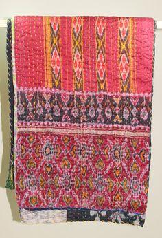 Boho Indian Quilt  Sari Quilt  Kantha Quilt by SarisLiving on Etsy